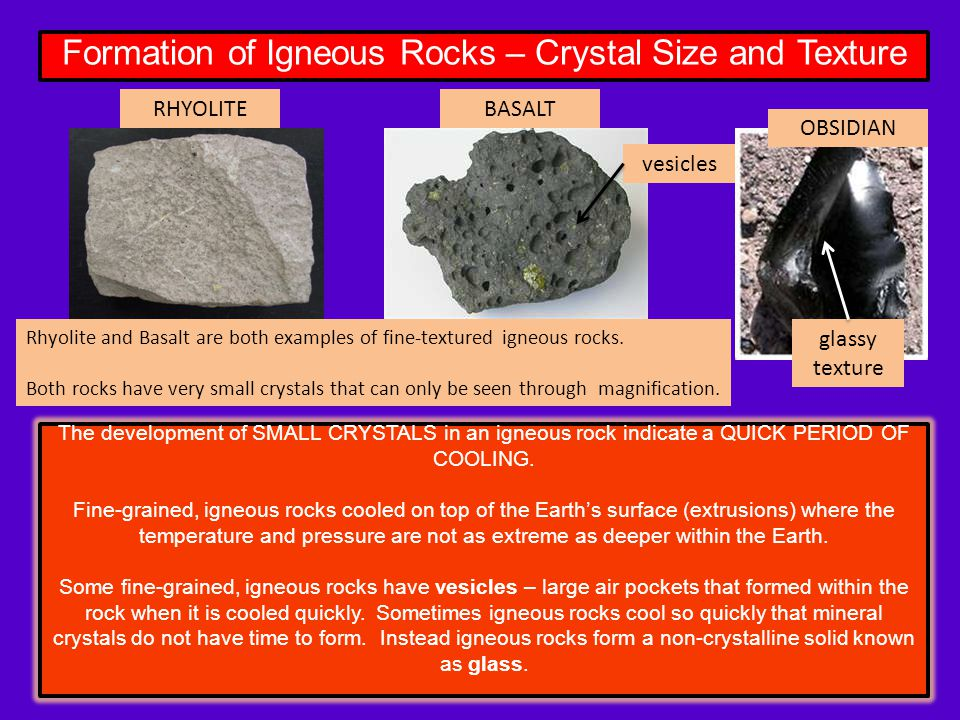 Igneous Rocks An igneous rock is one that is formed from the ...