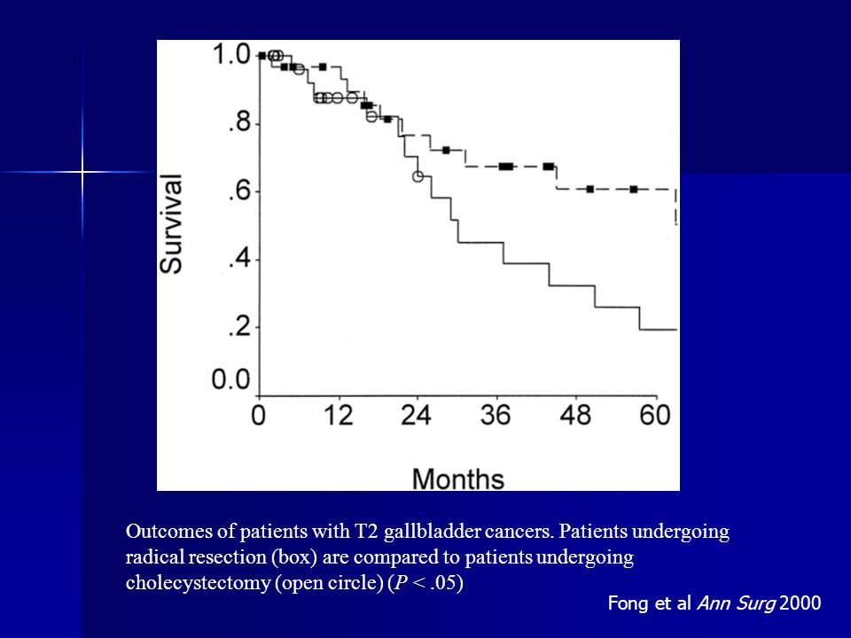 Outcomes of patients with T2 gallbladder cancers.