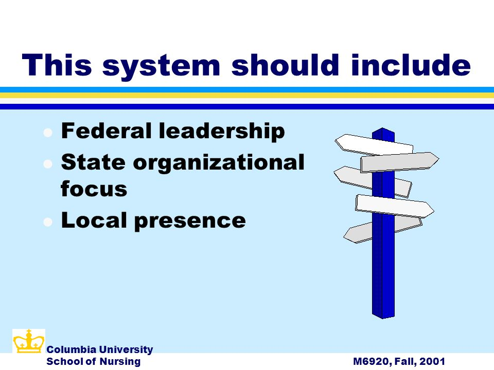 Columbia University School of NursingM6920, Fall, 2001 This system should include l Federal leadership l State organizational focus l Local presence