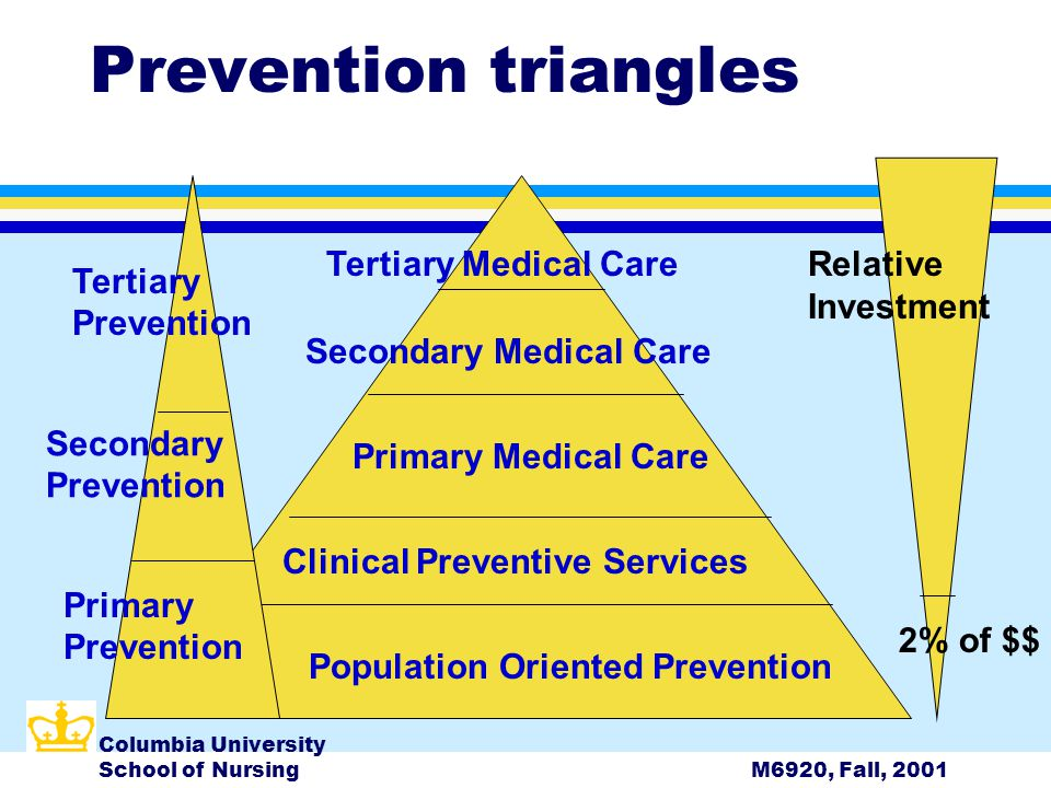 Columbia University School of NursingM6920, Fall, 2001 Prevention triangles Population Oriented Prevention Clinical Preventive Services Primary Medical Care Secondary Medical Care Tertiary Medical CareRelative Investment Tertiary Prevention Secondary Prevention Primary Prevention 2% of $$