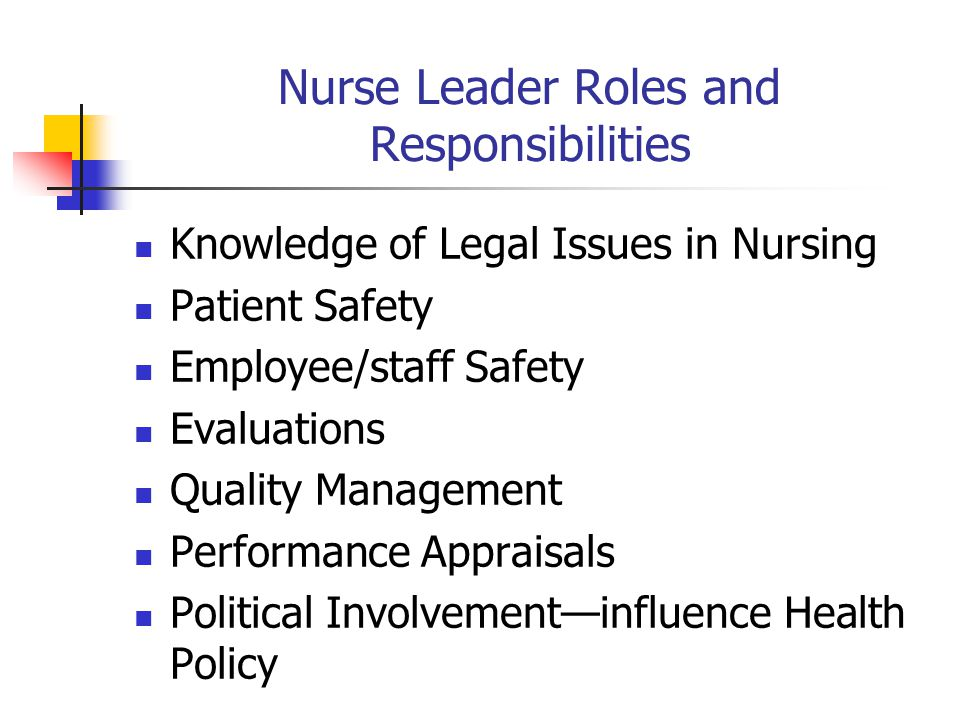 Nurse Leader Roles and Responsibilities Knowledge of Legal Issues in Nursing Patient Safety Employee/staff Safety Evaluations Quality Management Performance Appraisals Political Involvement—influence Health Policy
