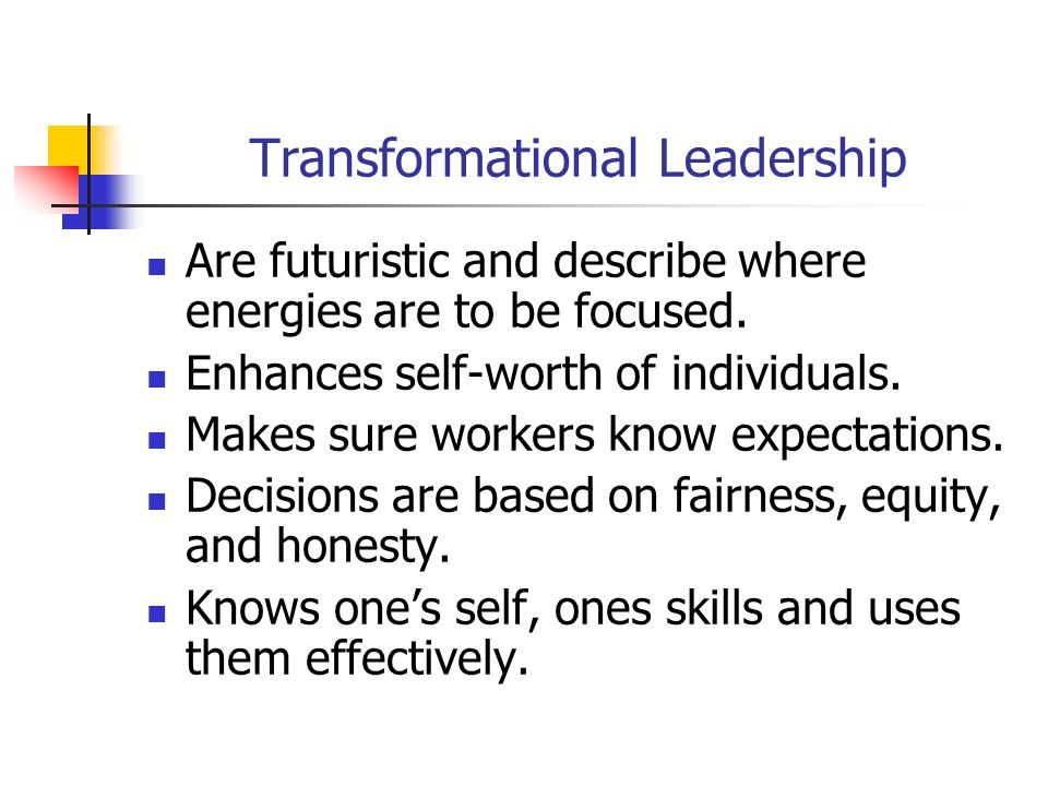 Transformational Leadership Are futuristic and describe where energies are to be focused.