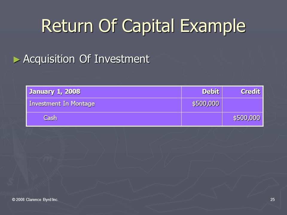 © 2008 Clarence Byrd Inc.24 Return Of Capital Example EXAMPLE: On January 1, 2008, Norton Inc.