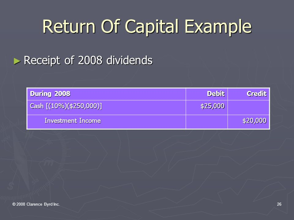 © 2008 Clarence Byrd Inc.25 Return Of Capital Example ► Acquisition Of Investment January 1, 2008 DebitCredit Investment In Montage $500,000 Cash$500,000