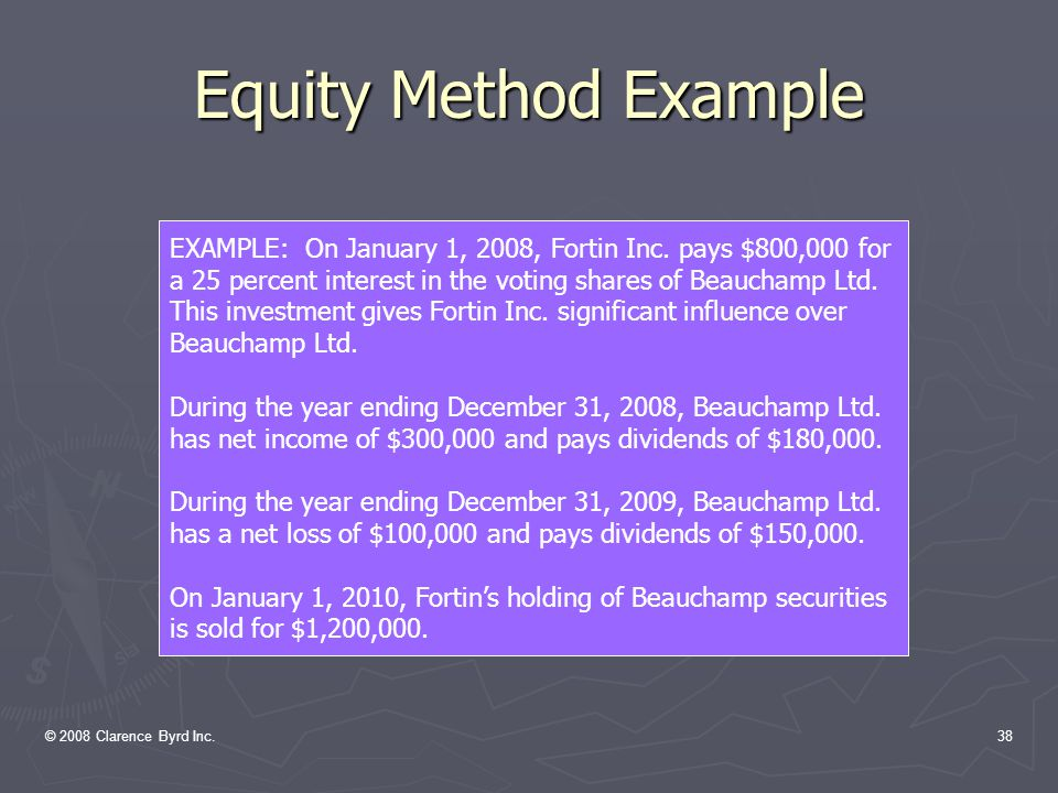 © 2008 Clarence Byrd Inc.37 Equity Method Procedures ► Accounting for investment income Investment income is equal to the Investor's share of the reported Net Income of the Investee.