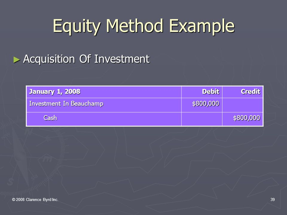 © 2008 Clarence Byrd Inc.38 Equity Method Example EXAMPLE: On January 1, 2008, Fortin Inc.
