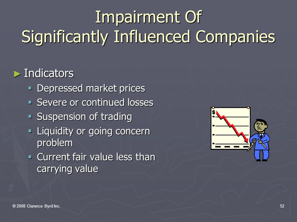 © 2008 Clarence Byrd Inc.51 Impairment Of Significantly Influenced Companies ► Paragraph When there has been a loss in value of an investment that is other than a temporary decline, the investment should be written down to recognize the loss.