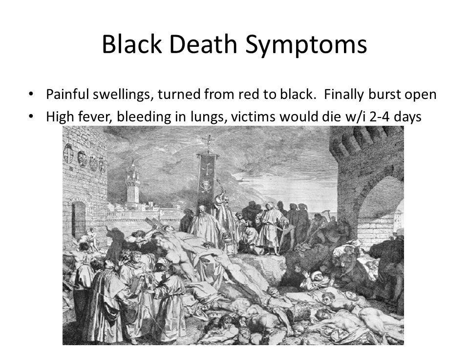 Black Death Symptoms Painful swellings, turned from red to black.
