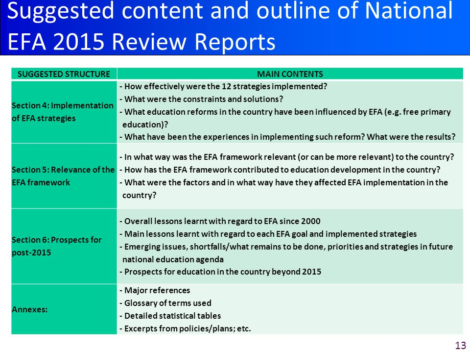 13 Suggested content and outline of National EFA 2015 Review Reports SUGGESTED STRUCTUREMAIN CONTENTS Section 4: Implementation of EFA strategies - How effectively were the 12 strategies implemented.