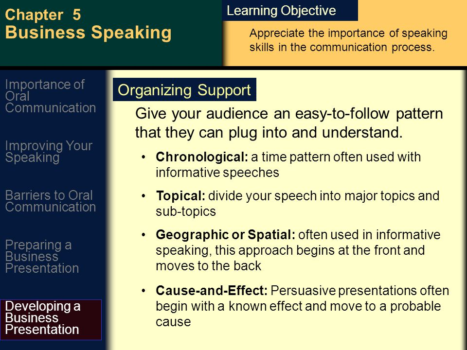 Learning Objective Chapter 5 Business Speaking Improving Your Speaking Barriers to Oral Communication Preparing a Business Presentation Developing a Business Presentation Importance of Oral Communication Give your audience an easy-to-follow pattern that they can plug into and understand.