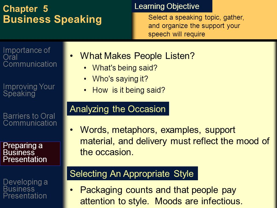 Learning Objective Chapter 5 Business Speaking Improving Your Speaking Barriers to Oral Communication Preparing a Business Presentation Developing a Business Presentation Importance of Oral Communication What Makes People Listen.