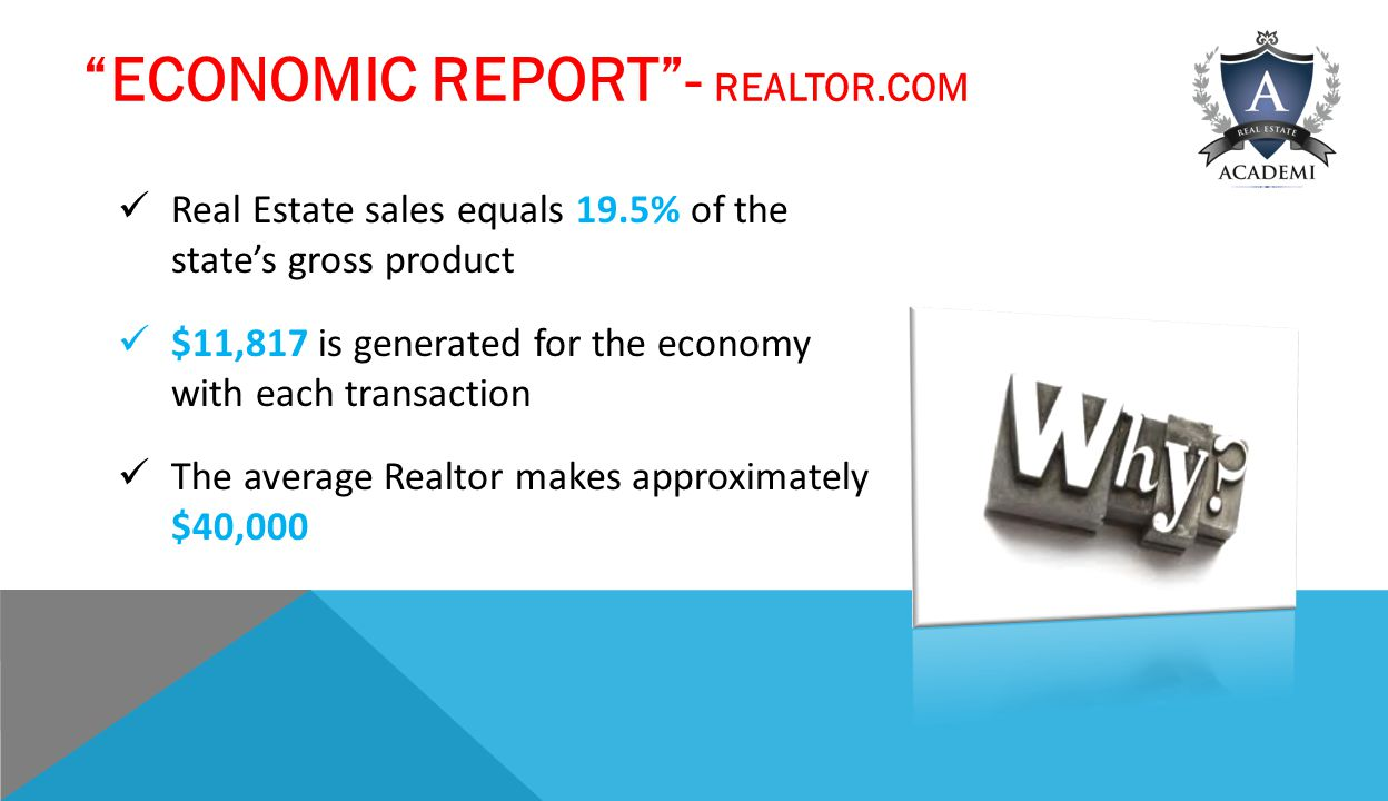 ECONOMIC REPORT - REALTOR.COM Real Estate sales equals 19.5% of the state's gross product $11,817 is generated for the economy with each transaction The average Realtor makes approximately $40,000