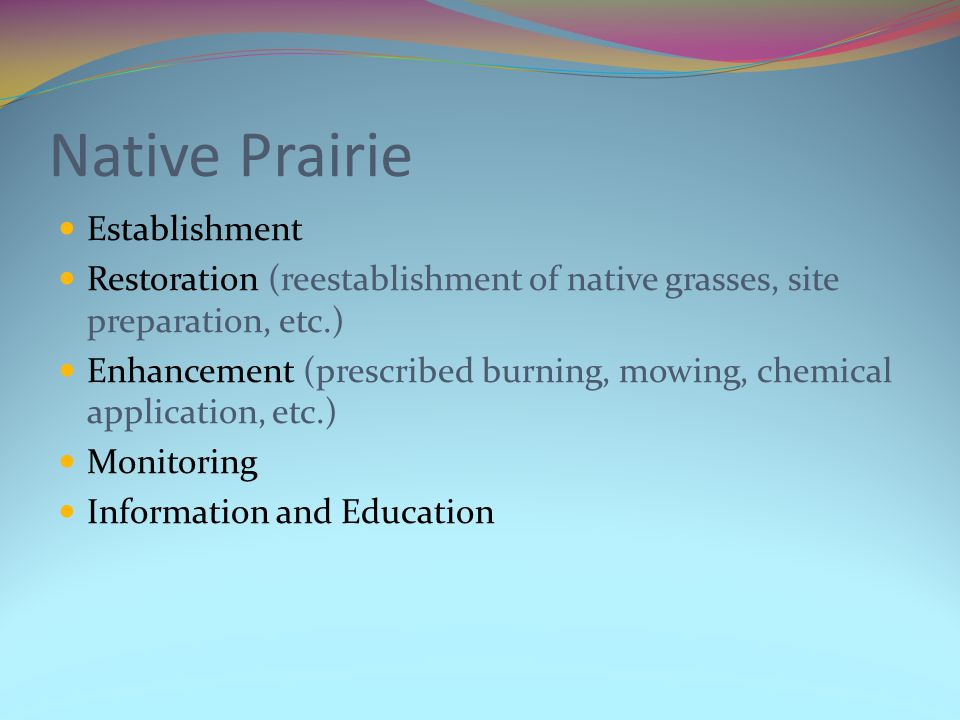 Native Prairie Establishment Restoration (reestablishment of native grasses, site preparation, etc.) Enhancement (prescribed burning, mowing, chemical application, etc.) Monitoring Information and Education