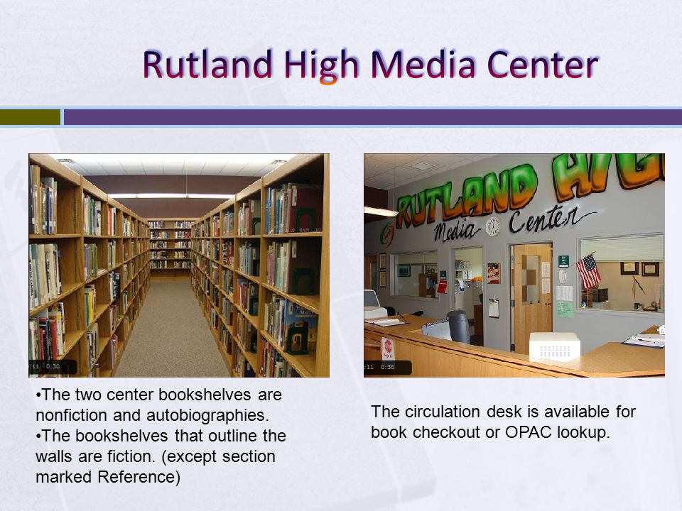 The two center bookshelves are nonfiction and autobiographies.