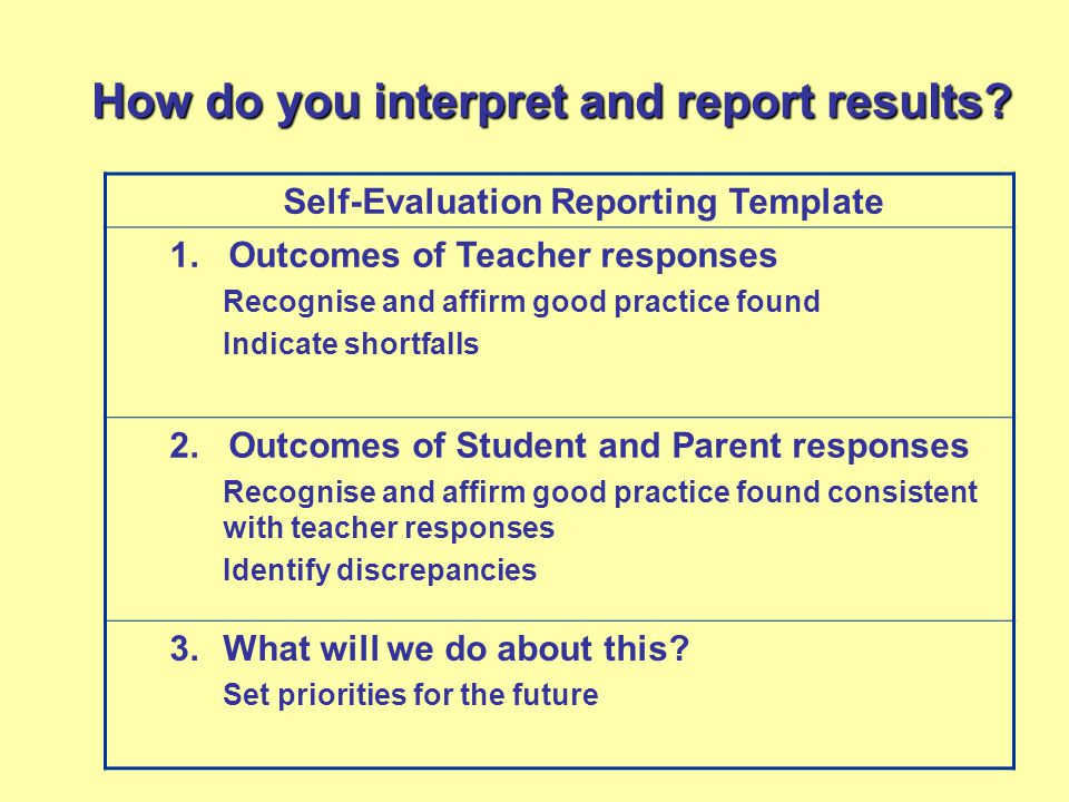 How do you interpret and report results. Self-Evaluation Reporting Template 1.