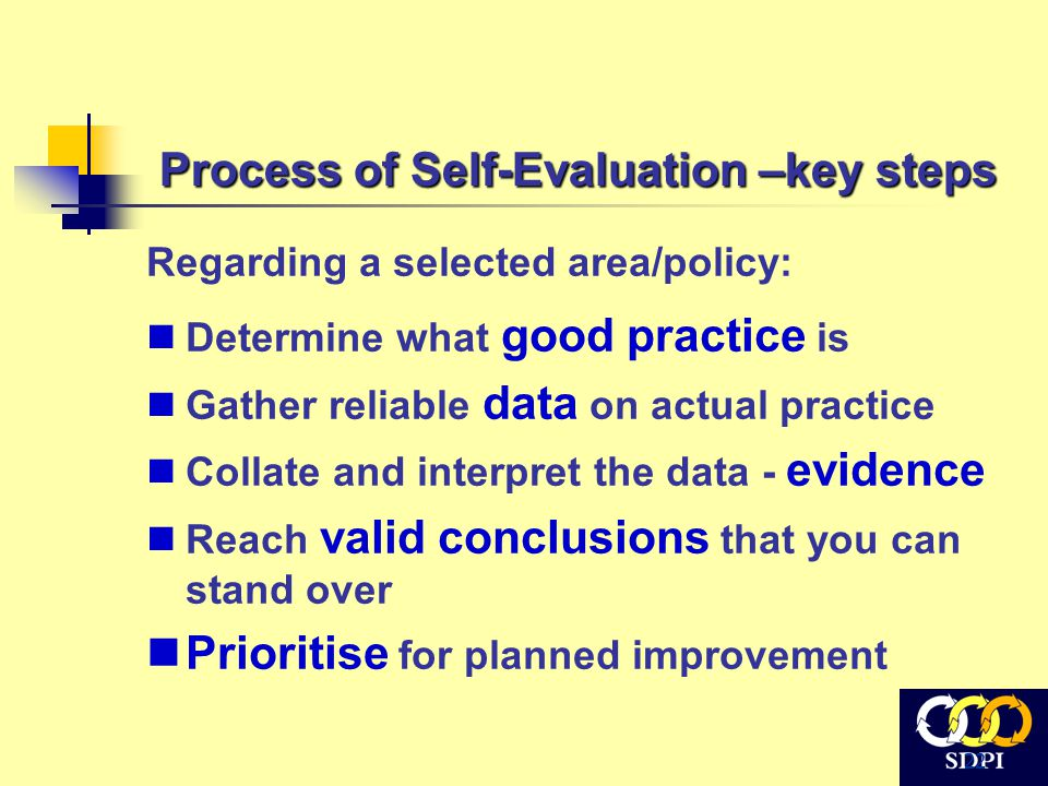 22 Process of Self-Evaluation –key steps Regarding a selected area/policy: Determine what good practice is Gather reliable data on actual practice Collate and interpret the data - evidence Reach valid conclusions that you can stand over Prioritise for planned improvement