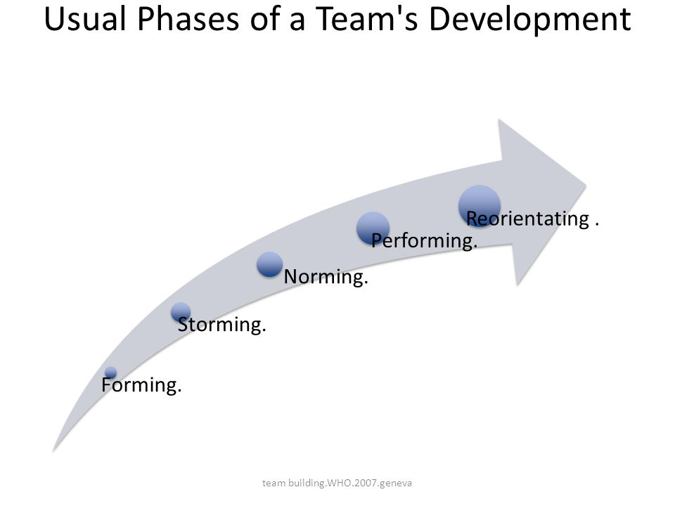 Usual Phases of a Team's Development Forming. Storming. Norming. Performing. Reorientating. team building.WHO.2007.geneva