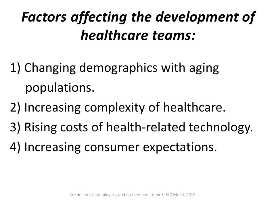 Factors affecting the development of healthcare teams: 1) Changing demographics with aging populations. 2) Increasing complexity of healthcare. 3) Ris