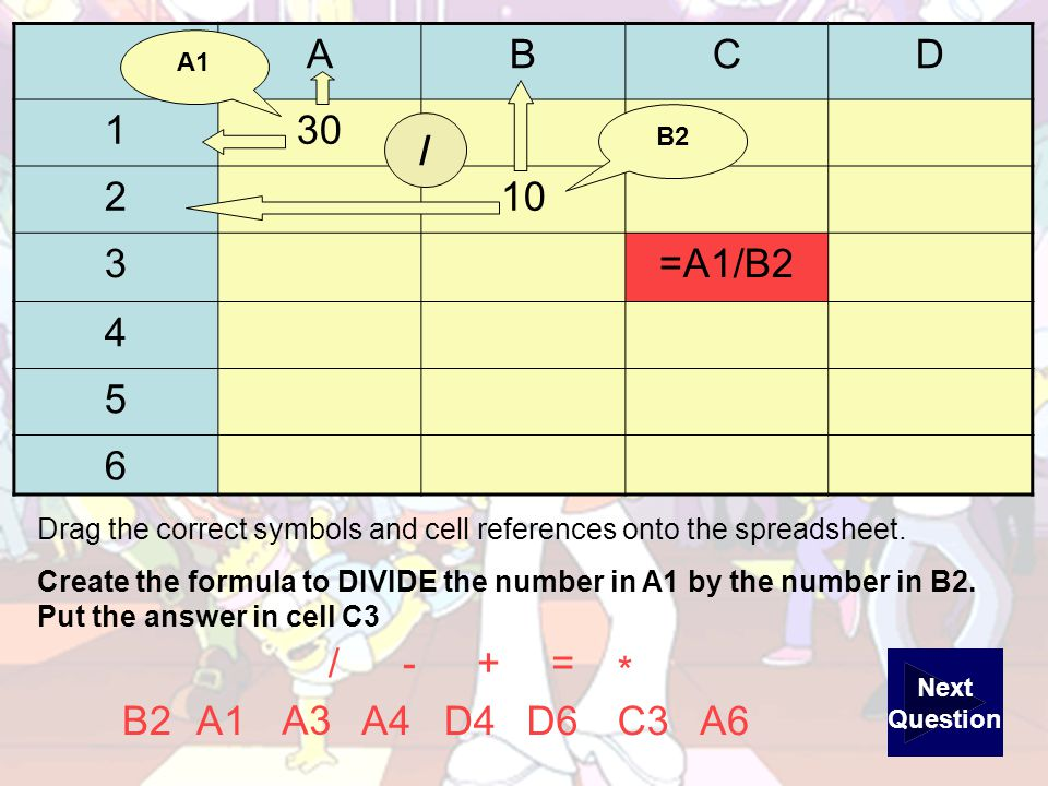 ABCD =+ A6B2 A3 D4A4D6C3A1 Drag the correct symbols and cell references onto the spreadsheet.