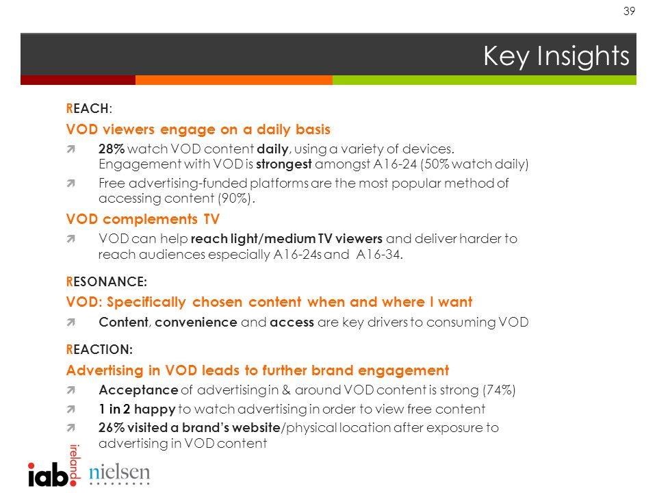 Key Insights 39 REACH : VOD viewers engage on a daily basis  28% watch VOD content daily, using a variety of devices.