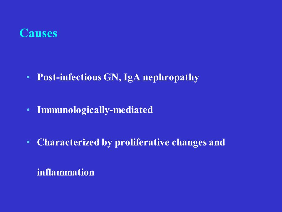 Post-infectious GN, IgA nephropathy Immunologically-mediated Characterized by proliferative changes and inflammation Causes