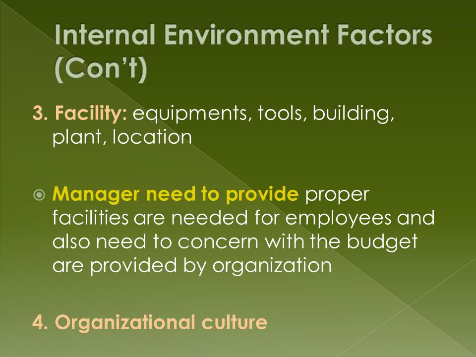 3. Facility: equipments, tools, building, plant, location  Manager need to provide proper facilities are needed for employees and also need to concer