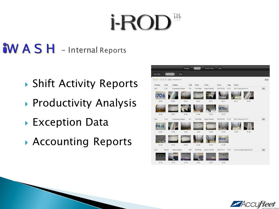  Shift Activity Reports  Productivity Analysis  Exception Data  Accounting Reports