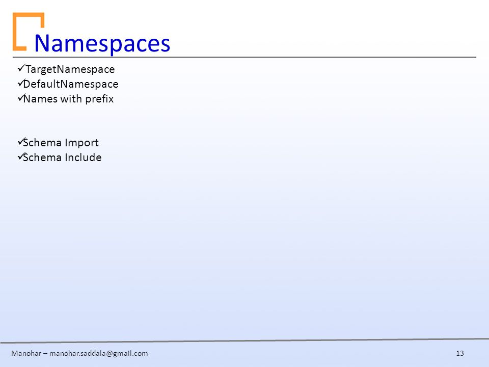 Manohar – Namespaces 13 TargetNamespace DefaultNamespace Names with prefix Schema Import Schema Include