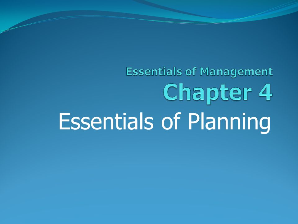 Essentials of Planning