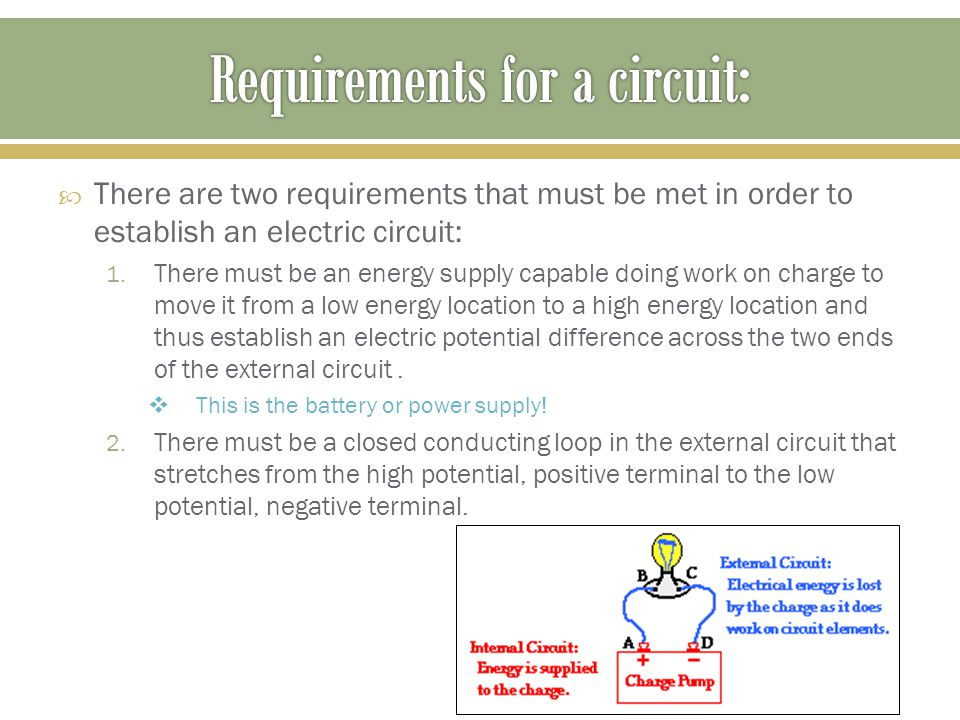  There are two requirements that must be met in order to establish an electric circuit: 1.