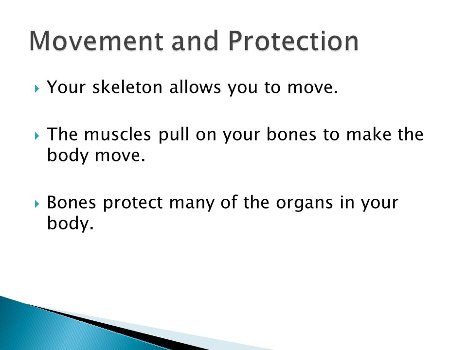  Your skeleton allows you to move.  The muscles pull on your bones to make the body move.