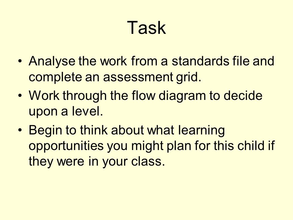 Task Analyse the work from a standards file and complete an assessment grid.