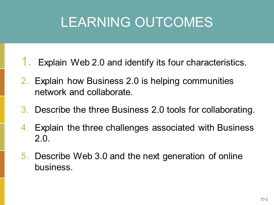 LEARNING OUTCOMES 1. Explain Web 2.0 and identify its four characteristics.