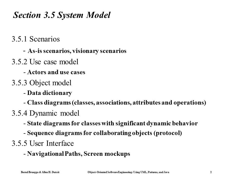 Bernd Bruegge Allen H Dutoit ObjectOriented Software – Requirement Analysis Template