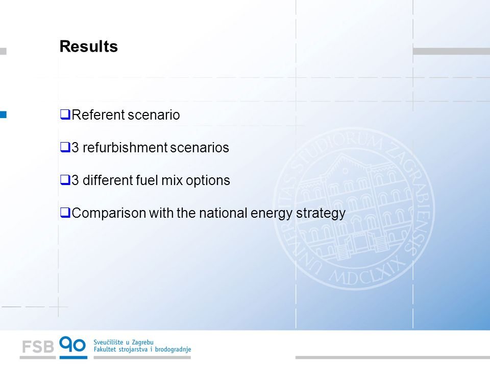Results  Referent scenario  3 refurbishment scenarios  3 different fuel mix options  Comparison with the national energy strategy