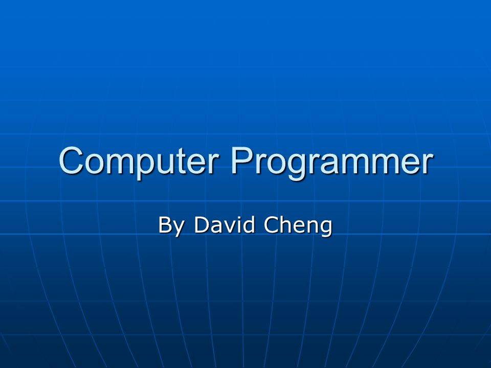 Computer Programmer By David Cheng Job Summary A Programmer