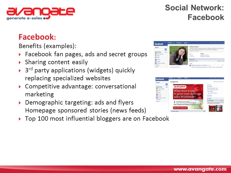 Social Network: Facebook Facebook : Benefits (examples):  Facebook fan pages, ads and secret groups  Sharing content easily  3 rd party applications (widgets) quickly replacing specialized websites  Competitive advantage: conversational marketing  Demographic targeting: ads and flyers Homepage sponsored stories (news feeds)  Top 100 most influential bloggers are on Facebook
