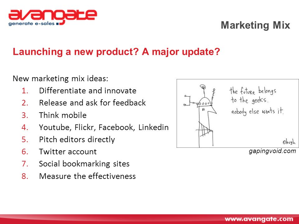 Marketing Mix Launching a new product.A major update.