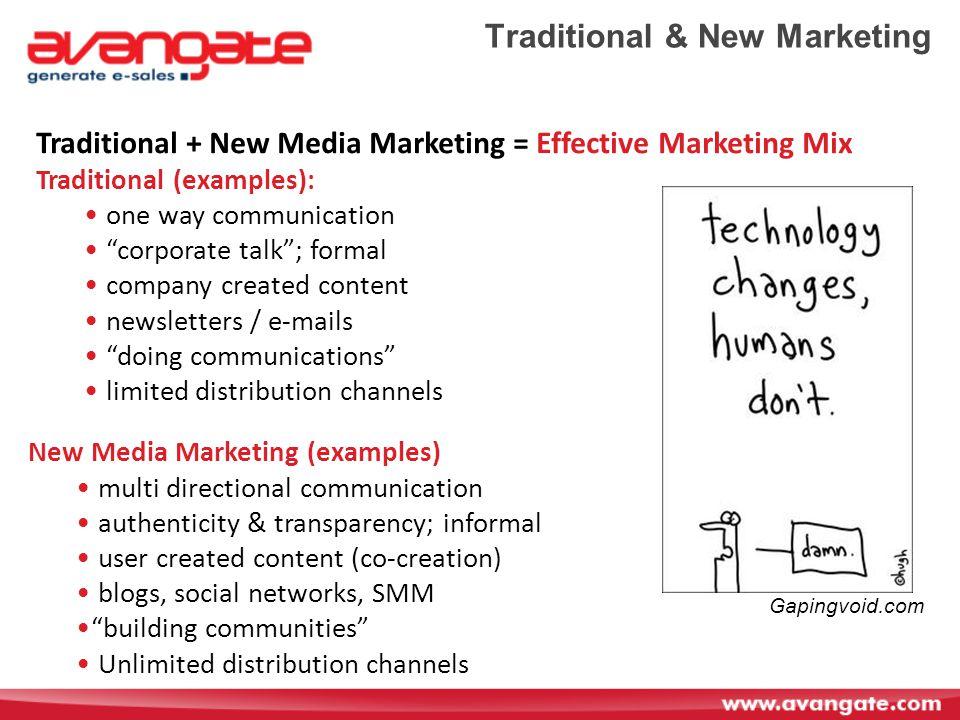 Traditional & New Marketing Traditional + New Media Marketing = Effective Marketing Mix Traditional (examples): one way communication corporate talk ; formal company created content newsletters /  s doing communications limited distribution channels New Media Marketing (examples) multi directional communication authenticity & transparency; informal user created content (co-creation) blogs, social networks, SMM building communities Unlimited distribution channels Gapingvoid.com