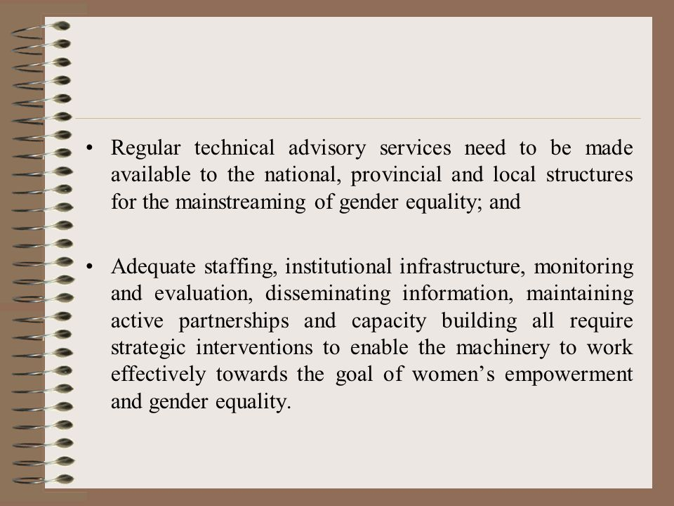 Regular technical advisory services need to be made available to the national, provincial and local structures for the mainstreaming of gender equality; and Adequate staffing, institutional infrastructure, monitoring and evaluation, disseminating information, maintaining active partnerships and capacity building all require strategic interventions to enable the machinery to work effectively towards the goal of women's empowerment and gender equality.