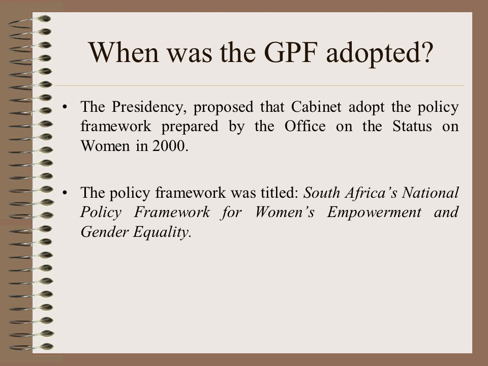When was the GPF adopted.