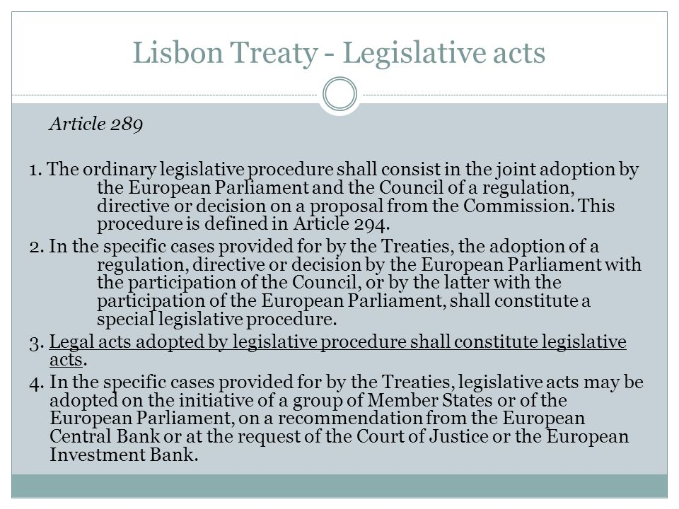 Lisbon Treaty - Legislative acts Article