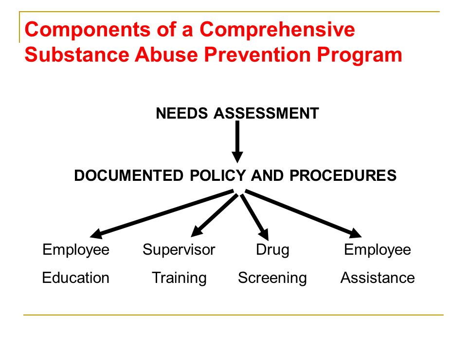 Components of a Comprehensive Substance Abuse Prevention Program NEEDS ASSESSMENT Employee Education Supervisor Training Drug Screening Employee Assistance DOCUMENTED POLICY AND PROCEDURES