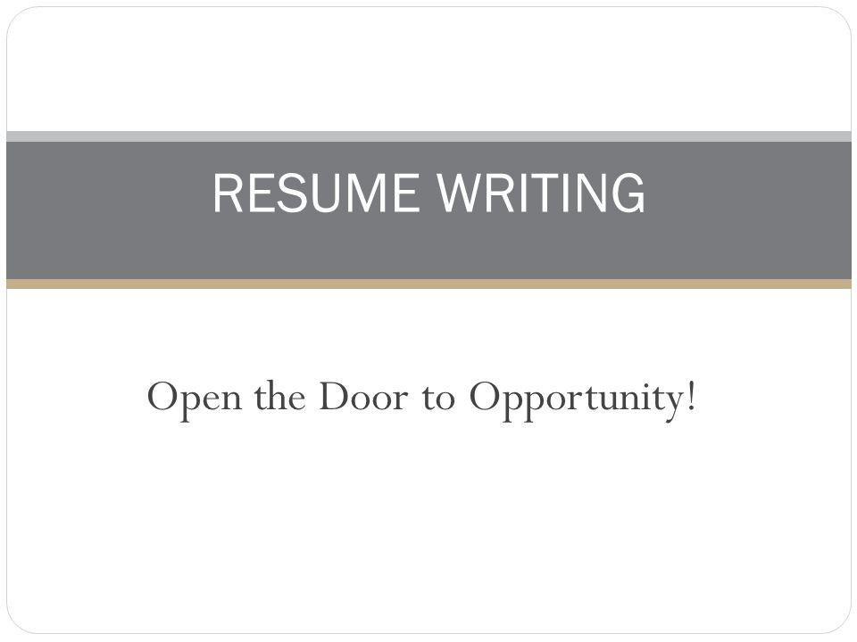 RESUME WRITING  Purpose Of Resume