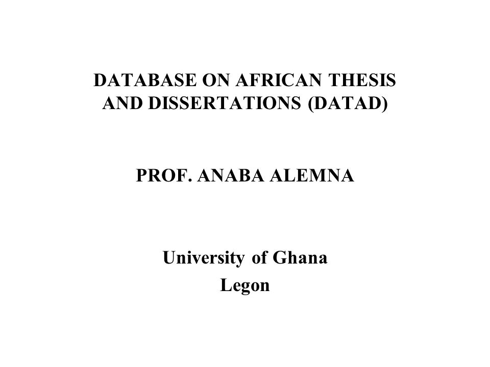 Dissertation/Thesis From A Database