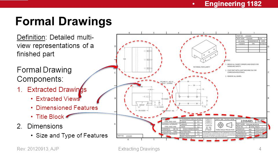 Engineering 1182 Formal Drawings Formal Drawing Components: 1.Extracted Drawings Extracted Views Dimensioned Features Title Block 2.Dimensions Size and Type of Features Rev: , AJPExtracting Drawings4 Definition: Detailed multi- view representations of a finished part