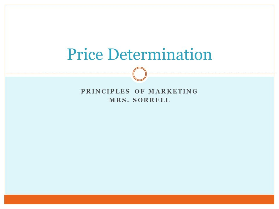 PRINCIPLES OF MARKETING MRS. SORRELL Price Determination