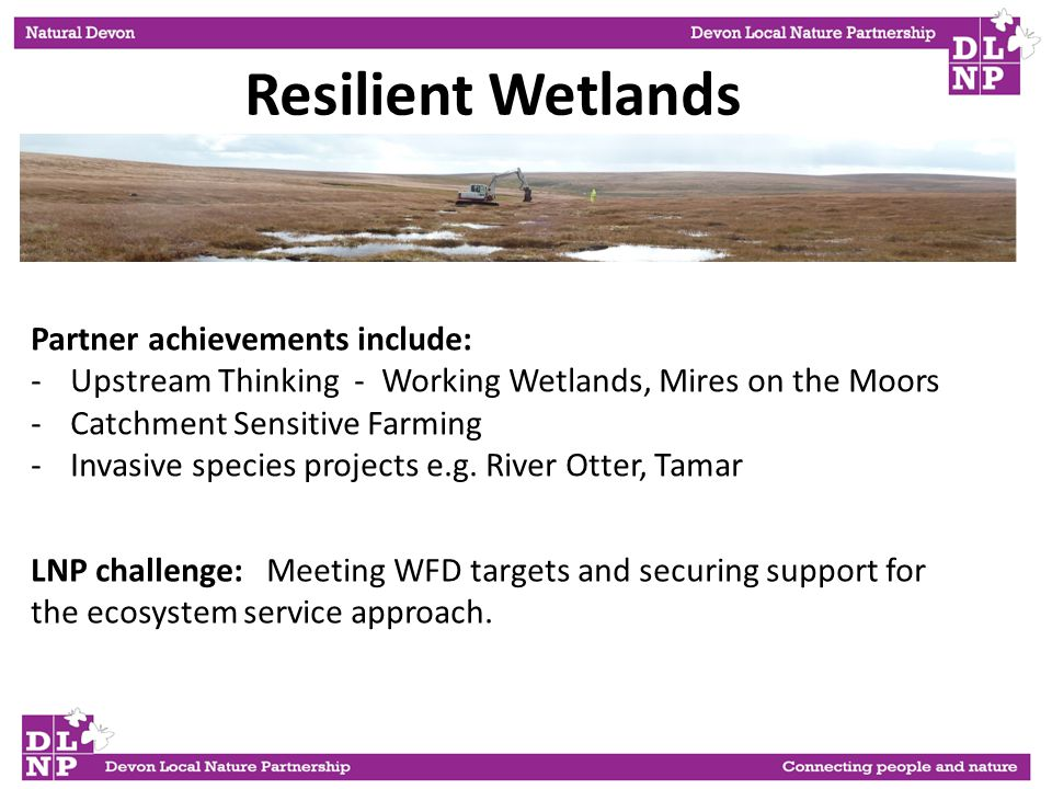 Partner achievements include: -Upstream Thinking - Working Wetlands, Mires on the Moors -Catchment Sensitive Farming -Invasive species projects e.g.