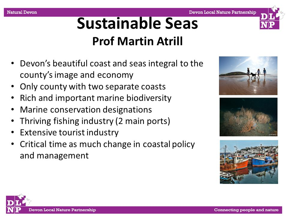 Sustainable Seas Prof Martin Atrill Devon's beautiful coast and seas integral to the county's image and economy Only county with two separate coasts Rich and important marine biodiversity Marine conservation designations Thriving fishing industry (2 main ports) Extensive tourist industry Critical time as much change in coastal policy and management