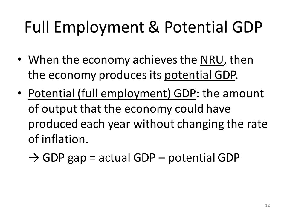 Full Employment & Potential GDP When the economy achieves the NRU, then the economy produces its potential GDP.